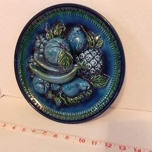 Vtg blue Fruit Wall Decore Plate